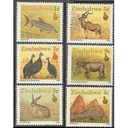 6 عدد تمبر حیات وحش - سری پستی - زیمباوه 1990