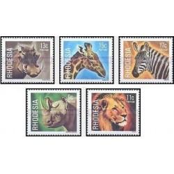 5 عدد تمبر حیات وحش - سری پستی - رودزیا 1978