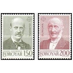 2 عدد تمبر مشترک اروپا - Europa Cept - جزائر فارو 1980