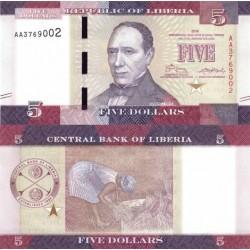اسکناس 5 دلار - لیبریا 2016