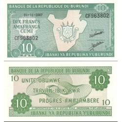 اسکناس 10 فرانک - بروندی 2007