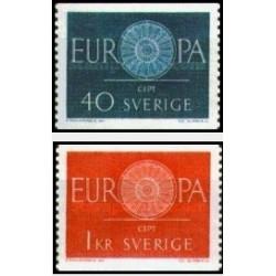 2 عدد تمبر مشترک اروپا - Europa Cept - سوئد 1960