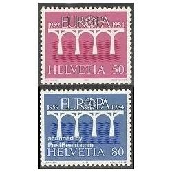 2 عدد تمبر مشترک اروپا - Europa Cept - سوئیس 1984