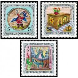 3 عدد تمبر  گنجینه رسوم ملی و فرهنگ عامه - اتریش 1992