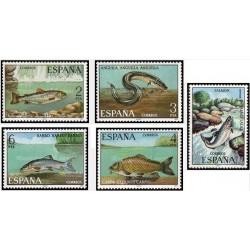 5 عدد تمبر ماهیان رودخانه ای - اسپانیا 1977