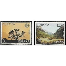 2 عدد تمبر مشترک اروپا - Europa Cept - مناظر طبیعی - اسپانیا 1977