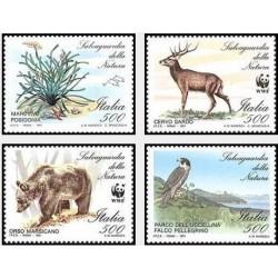 4 عدد تمبر حفاظت از محیط زیست - WWF - ایتالیا 1991