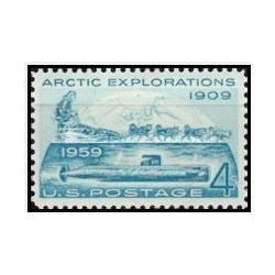 1عدد تمبر 50مین سالگرد سفر رابرت پیری و ناتیلوس به قطب شمال و اولین حمل و نقل زیر دریایی در زیر قطب - آمریکا 1959