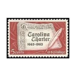 1 عدد تمبر اساسنامه کارولینا - آمریکا 1963