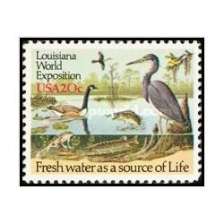 1 عدد تمبر نمایشگاه جهانی لوئیزیانا - حیات وحش رودخانه - آمریکا 1984