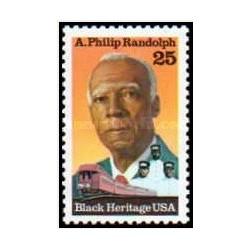 1 عدد تمبر جنبش سیاه - ای فیلیپ راندولف - آمریکا 1989