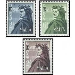 3 عدد تمبر 700مین سالگرد تولد دانته - شاعر - مالت 1965