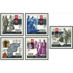 5 عدد تمبر 400 سالگی شهر والتا - پایتخت مالت - مالت 1966