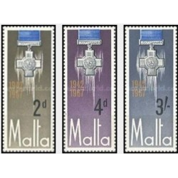 3 عدد تمبر 25مین سالگرد صلیب ژرژ - مالت 1967