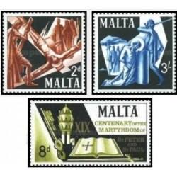 3 عدد تمبر 1900مین سالگرد سنت پیتر و سنت پل _ پاپ  - مالت 1967