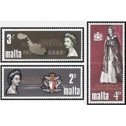3 عدد تمبر دیدار سلطنتی - ملکه الیزابت - مالت 1967