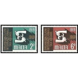 2 عدد تمبر 50مین سالگرد سازمان بین المللی کار - مالت 1969