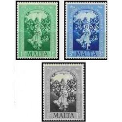 3 عدد تمبر صدمین سالگرد ترویج عقیده باروری معصوم - مالت 1954