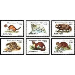 6 عدد تمبرجانوران خزدار - رومانی 1997