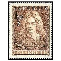 1 عدد تمبر 300مین سالگرد تولد فیشر فون ارلاخ - معمار- اتریش 1956