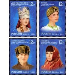 4 عدد تمبر لباسهای شمال روسیه - روسیه 2011