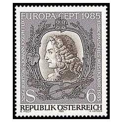 1 عدد تمبر 325مین سالگرد یوهان جوزف فاکس - موسیقی سال اروپا  - اتریش  1985