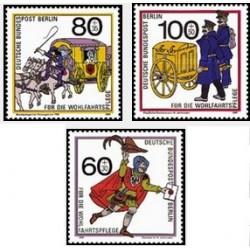 3 عدد تمبر خیریه - برلین آلمان 1989