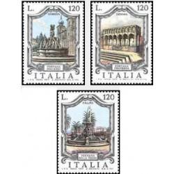 3 عدد تمبر آبنماهای معروف - ایتالیا 1977