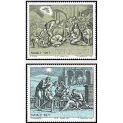 2 عدد تمبر کریسمس - ایتالیا 1977