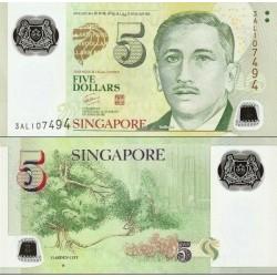 اسکناس پلیمر 5 دلار - سنگاپور 2009 با یک مربع کوچک در پشت زیر کلمه GARDEN CITY