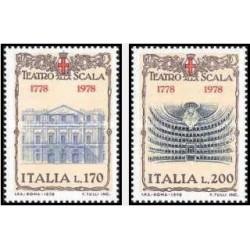 2 عدد تمبر 200مین سالگرد خانه اپرا لااسکالا ، میلان - ایتالیا 1978