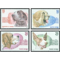 4 عدد تمبر نژاد سگ - اسپانیا 1983