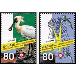 2 عدد تمبر پرندگان - حفاظت از طبیعت - هلند 1999