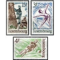 3 عدد تمبر ورزش ها - با تب - لوگزامبورگ 1975