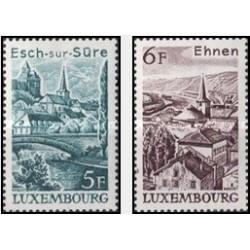 2 عدد تمبر مناظر طبیعی - تابلو منظره - با تب - لوگزامبورگ 1977