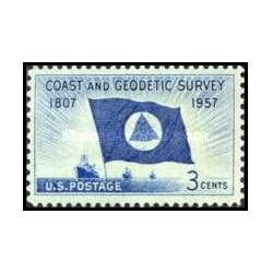 1 عدد تمبر 150مین سالگرد تشکیل سطوح هندسی سازمان ساحلی - آمریکا 1957