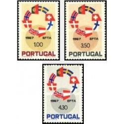3 عدد تمبر انجمن تجارت آزاد اروپا - پرتغال 1967