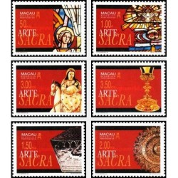 6 عدد تمبر هنر مذهبی - تابلو نقاشی - ماکائو 1994