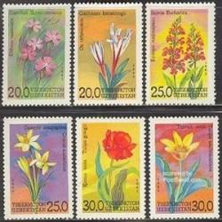 6 عدد تمبر گلها -  ازبکستان 1993