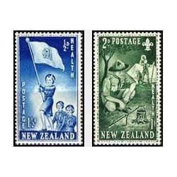2 عدد تمبر بهداشت  - پیشاهنگان - نیوزلند 1953