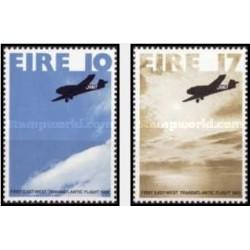 2 عدد تمبر 50مین سالگرد نخستین پرواز از شرق به غرب اقیانوس اطلس - ایرلند 1978