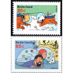 2 عدد تمبر کمیک - تن تن - هلند 1999