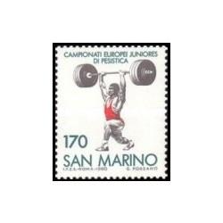 1 عدد تمبر تاریخ وزنه برداری قهرمانی اروپا ، سان مارینو - سان مارینو 1980