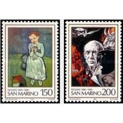 2 عدد تمبر صدمین سالگرد تولد پابلو پیکاسو - تابلو نقاشی - سان مارینو 1981