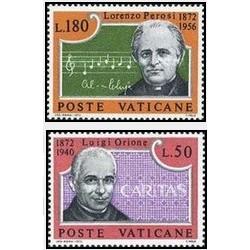 2 عدد تمبر صدمین سالگرد دون لوئیجی اوریون و لورنزو پروسیس - واتیکان 1972