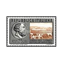 1 عدد تمبر کنگره بین المللی پزشکی ، ورونا - ایتالیا 1955 قیمت 8.6 دلار