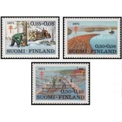 3 عدد تمبر پیشگیری از بیماری سل - صنعت الوار - فنلاند 1971