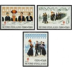 3 عدد تمبر پیشگیری از سل - فنلاند 1976