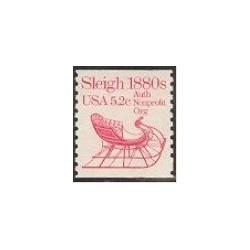 1 عدد تمبر سورتمه 1880- آمریکا 1983