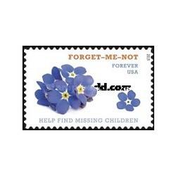 1 عدد تمبر کمک به پیدا نمودن کودکان گمشده - گل فراموشم نکن - آمریکا 2015
